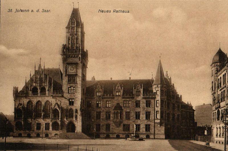 Foto AK, Saarbrücken St. Johann, Neues Rathaus, ca. 1910