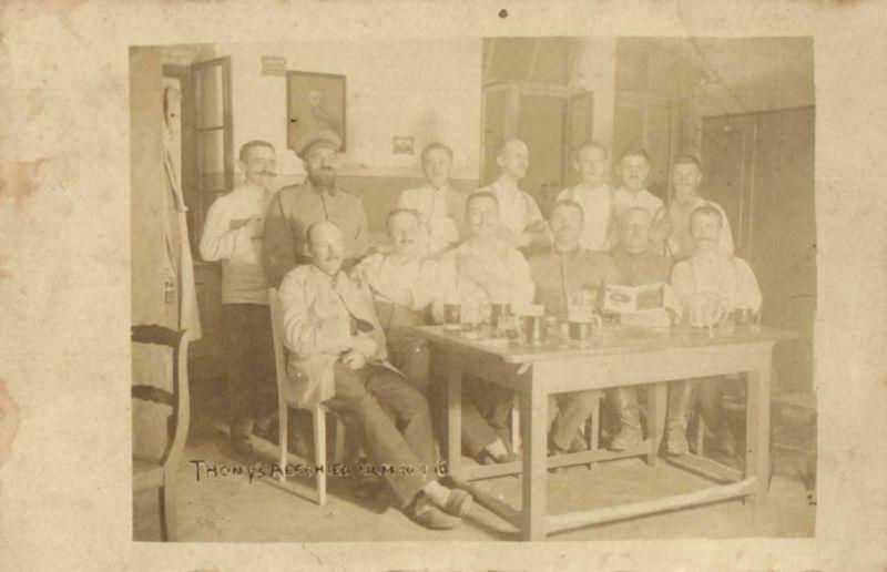 Originalfoto 9x13cm, Verundete Lazarett Ulm, Thony's Abschied 1916