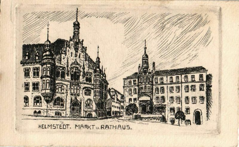 AK, Radierung,  Passepartout, Helmstedt, Markt u. Rathaus, 1926