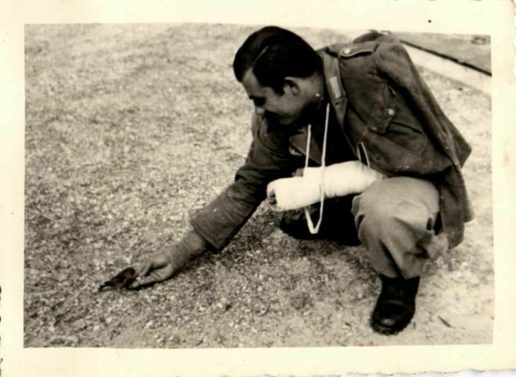 Originalfoto 10x7cm, Verwundeter füttert Vogel, 1945