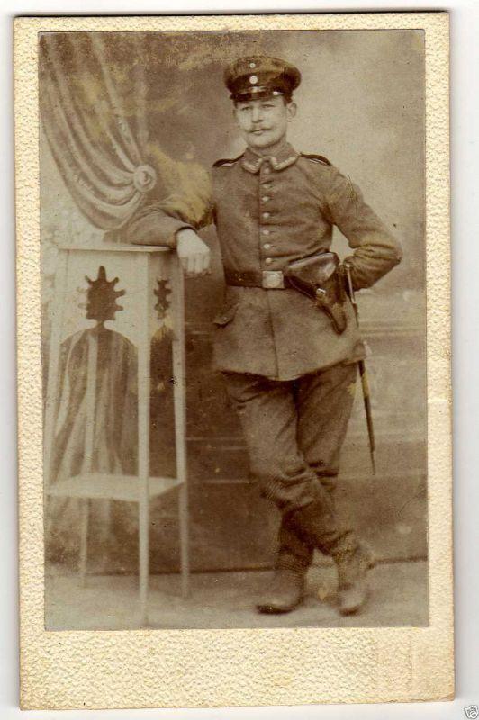 CDV 10,5x6,5cm Uffz. mit Luger Pistole, ca. 1916