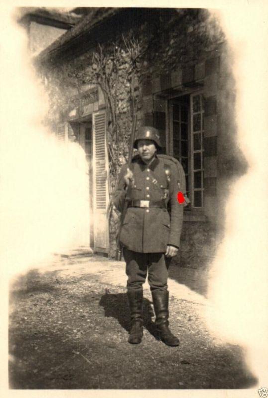 Originalfoto 9x6cm, Arbeitsmann mit Ausrüstung