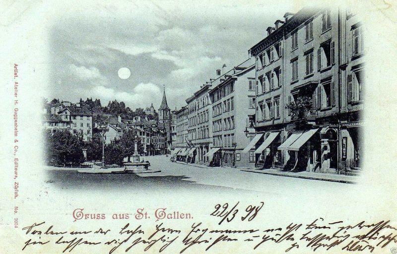 Foto AK, Mondscheinkarte Gruss aus St. Gallen, 1898