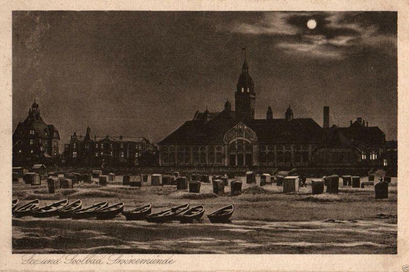 Foto AK, Mondscheinkarte Swinemünde, ca. 1925