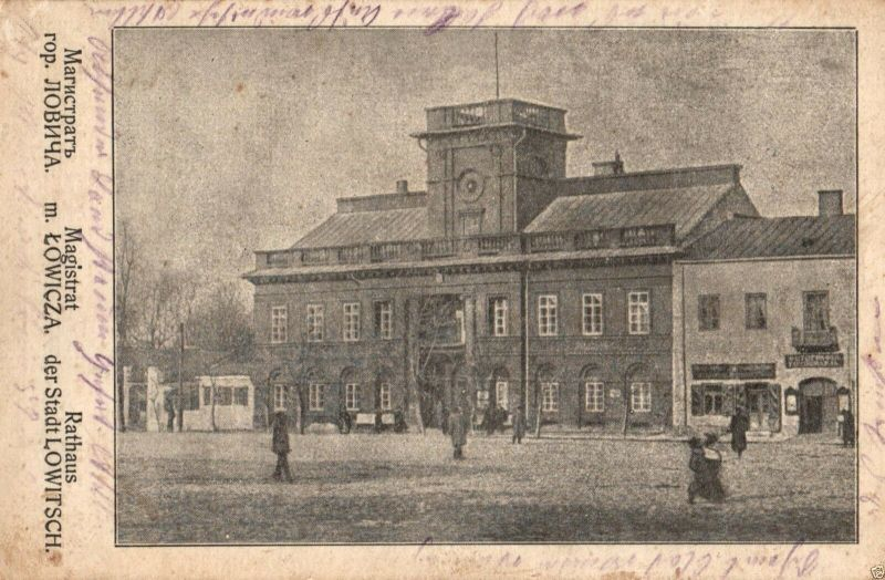 Foto AK, Lowitsch, Lowica, Rathaus, 1915