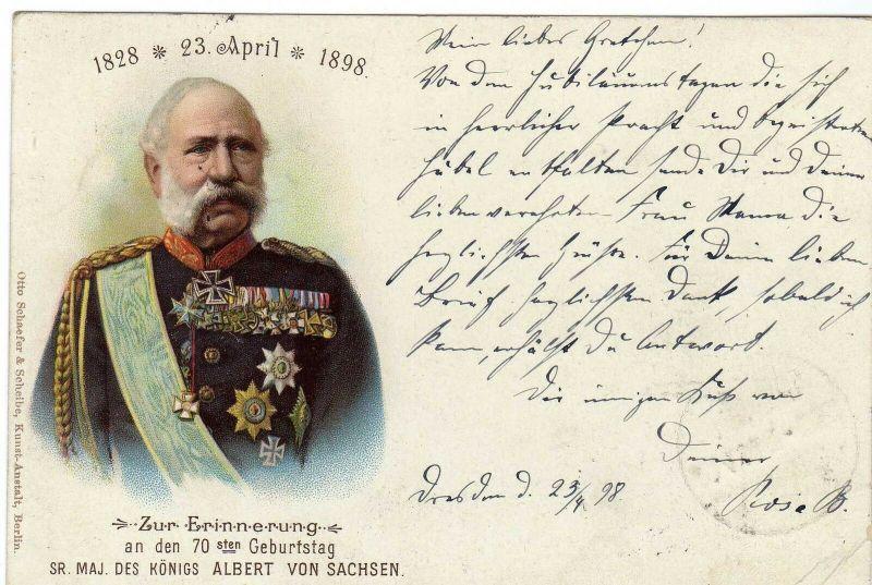 Foto AK, 70er Geburtstag König Albert v. Sachen, 23.4.1898