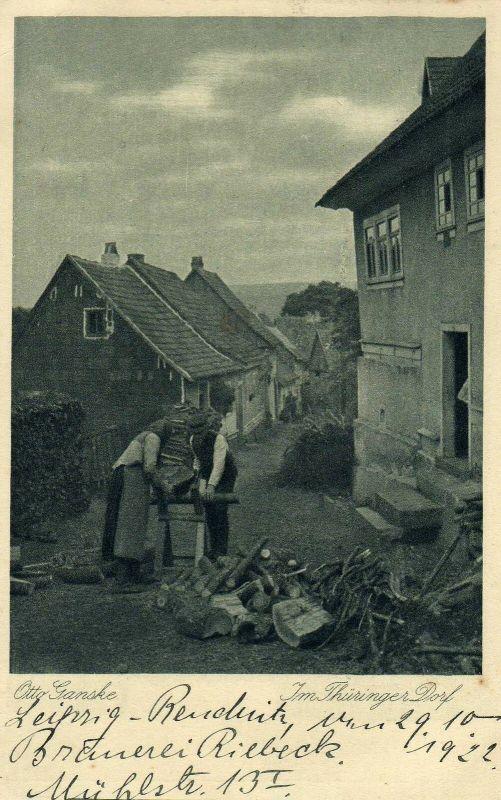 Foto AK Otto Ganske, Thüringer Dorf, 1922