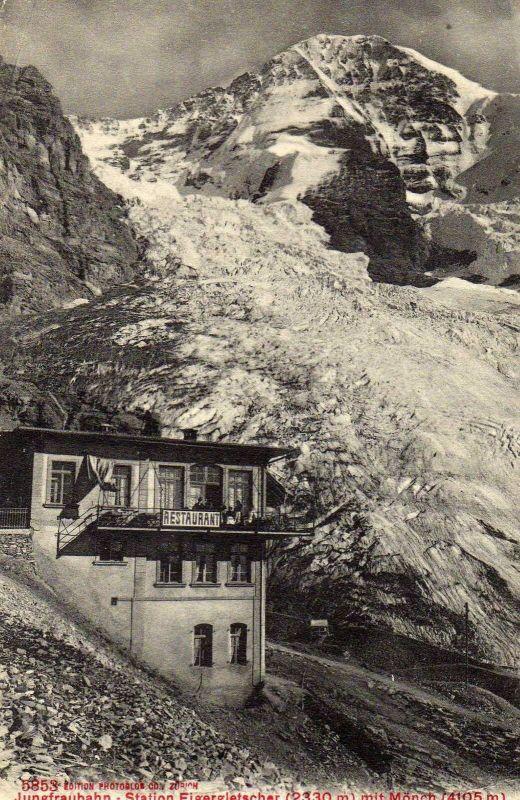 Foto AK, Jungfraubahn, Station Eigergletscher+Restaurant, 1910