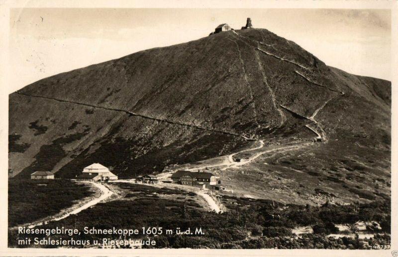 Foto AK, Schlesierhaus, Schneekoppe, Gastwirtschaftstempel, 1937