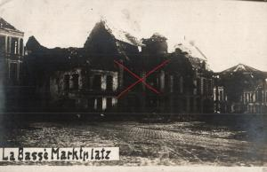 Originalfoto 9x13cm, zerstörter Marktplatz La Bassé, 1918