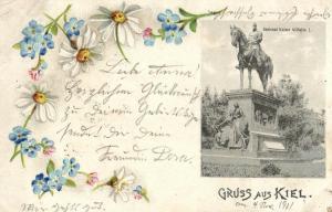Foto AK, Jugendstil, Gruss aus Kiel, Kaiser Wilhelm I, 1901