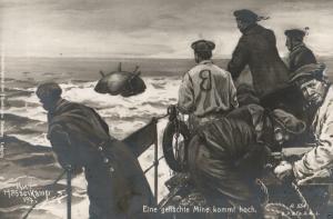 Künstler AK, Eine gefischte Mine kommt hoch