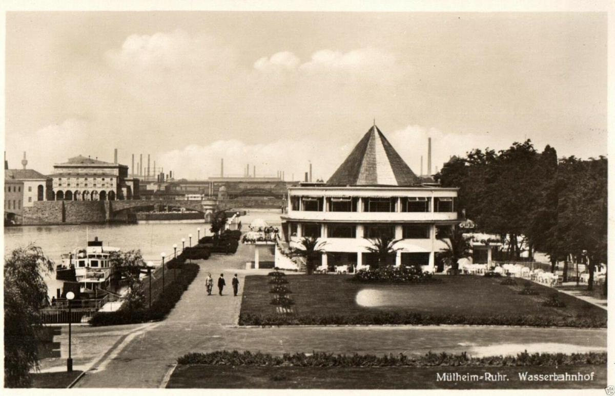 Foto AK, Mühlheim-Ruhr, Wasserbahnhof, ca. 1930 0