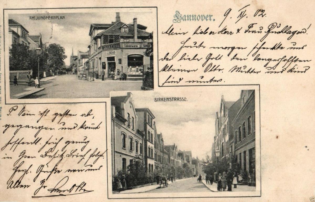 Foto AK, Hannover, Am Jungfernplan, Birkenstrasse, 1902 0