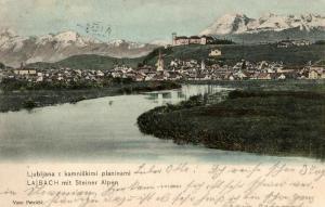 Foto AK, Ljubljana, Lajbach mit Steine Alpen, ca. 1910
