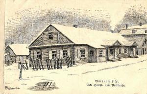 Künstler AK, Baranowitschi, Poststraße, 1916
