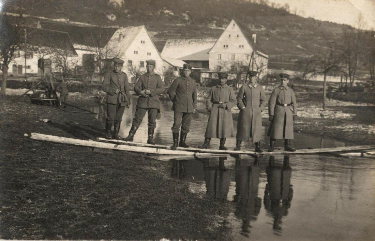 Originalfoto 9x13, Pionierübung bei Rastatt, 1915 0