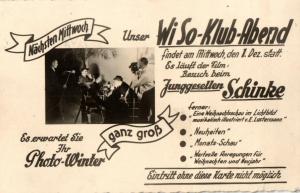 Foto AK, Leipzig, Einladung WiSo Klub-Abend, 1937