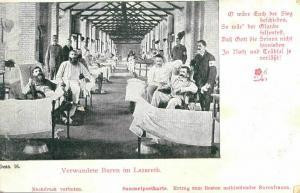 Foto AK, Burenkrieg, Verwundete Buren im Lazarett, ca. 1900