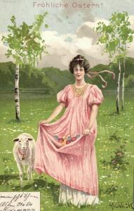 Künstler Ak Mailick, Fröhliche Ostern, 1902