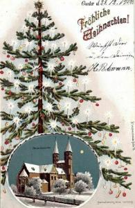 Litho mit Glitzer, Fröhliche Weinachten, Neuwerkskirche, 1900