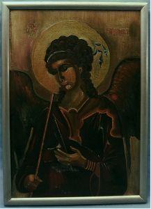 gemaltes Acrylbild mit Motiv :Erzengel Michael - Hüter der Paradiespforte ; Heiligenbild Ikone