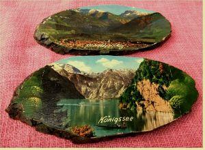 2 Holzscheiben mit gedruckten Bildern : Oberstdorf / Allg. und Königssee  Ca. 10 x 20 cm Größe