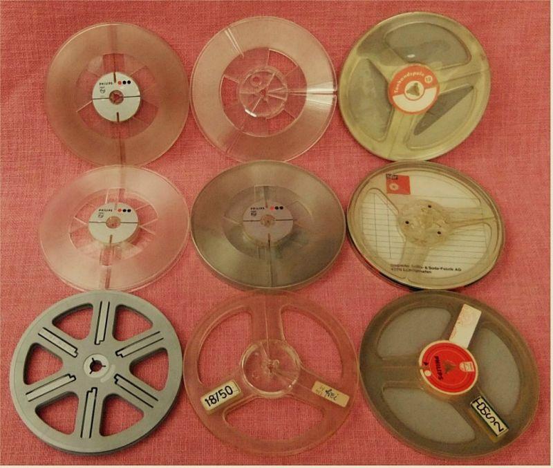 9 Stück Tonspulen aus Kunststoff  18 cm Durchmesser bis ca. à 120 m Magmetbänder