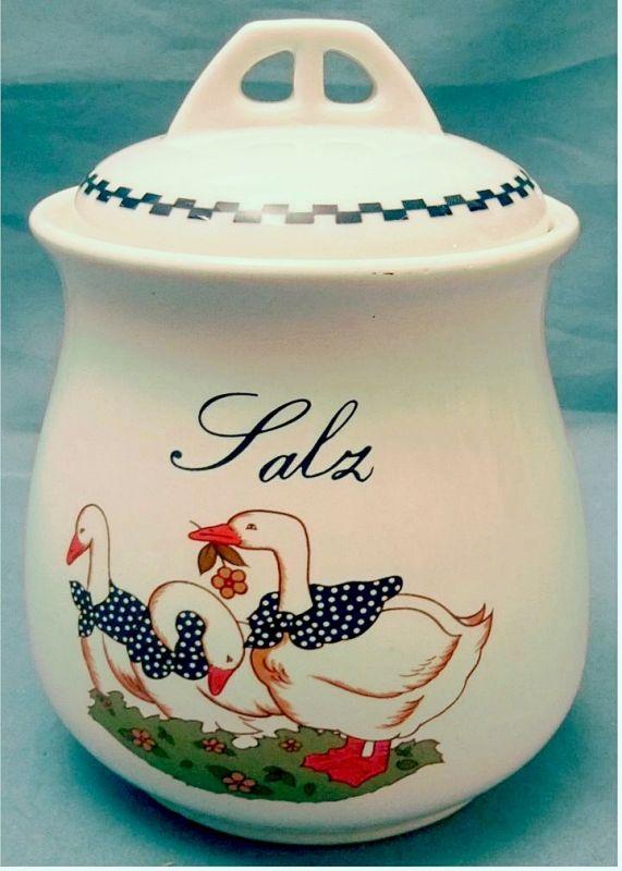 Stoneware Salzpott aus Keramik  Mit Gänse-Bild und Aufschrift : Salz