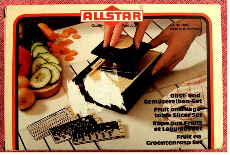 Obst- und Gemüsereiben-Set -  Mit 4 Metall-Einsätzen -  Von Allstar 1980er Jahre