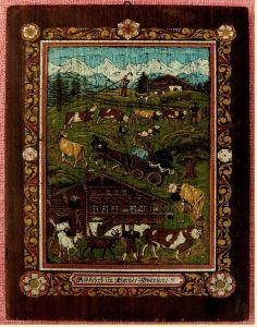Wandbild aus Holz -  Mit Motiv : Alpfahrt im Berner Oberland -  Größe ca. 21,5 x 31,5 cm