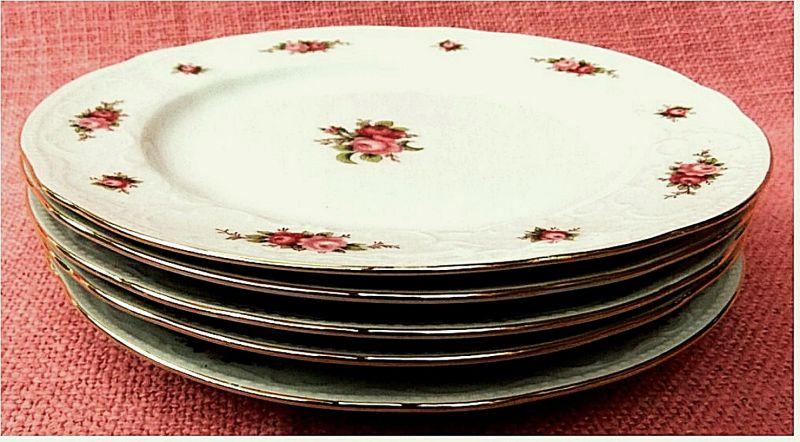 5 x seltmann weiden marie luise kuchenteller dessertteller rosen rot ca 19 4 cm. Black Bedroom Furniture Sets. Home Design Ideas