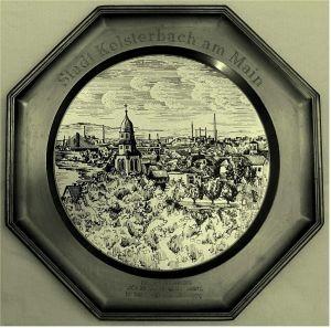 Zinnteller 8-eckig -   Mit Motiv Kelsterbach am Main -    Von 1979