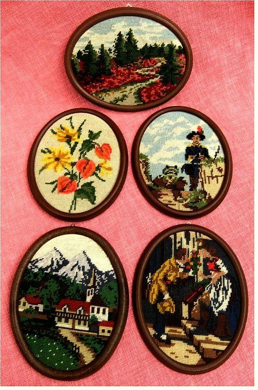 5 kleine ovale Gobelin-Bilder  mit Motiven -  Im Kunststoff-Rahmen -   Ca. 20 x 26 cm Größe