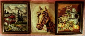 3 x Gobelin-Bild - Haus in den Alpen -  Pferde-Portrait - Stilleben -  Je ca. 25 x 30 cm Größe