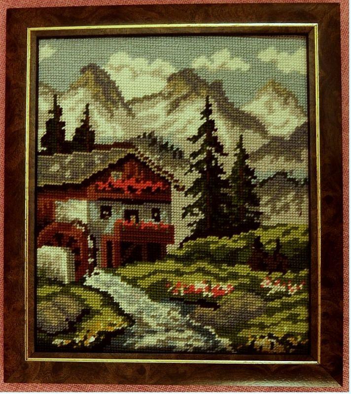 3 x Gobelin-Bild - Haus in den Alpen -  Pferde-Portrait - Stilleben -  Je ca. 25 x 30 cm Größe 2