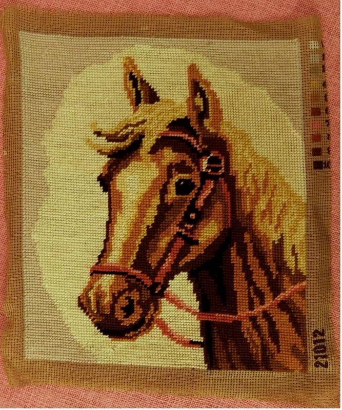 3 x Gobelin-Bild - Haus in den Alpen -  Pferde-Portrait - Stilleben -  Je ca. 25 x 30 cm Größe 3