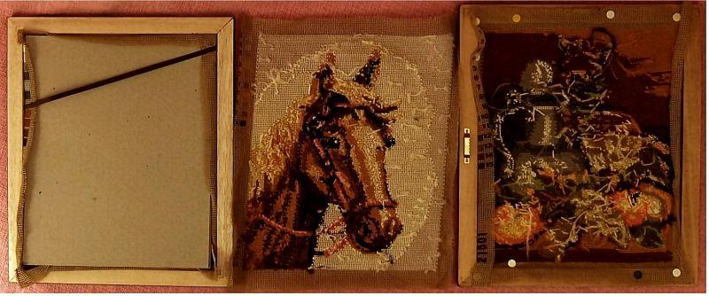 3 x Gobelin-Bild - Haus in den Alpen -  Pferde-Portrait - Stilleben -  Je ca. 25 x 30 cm Größe 5