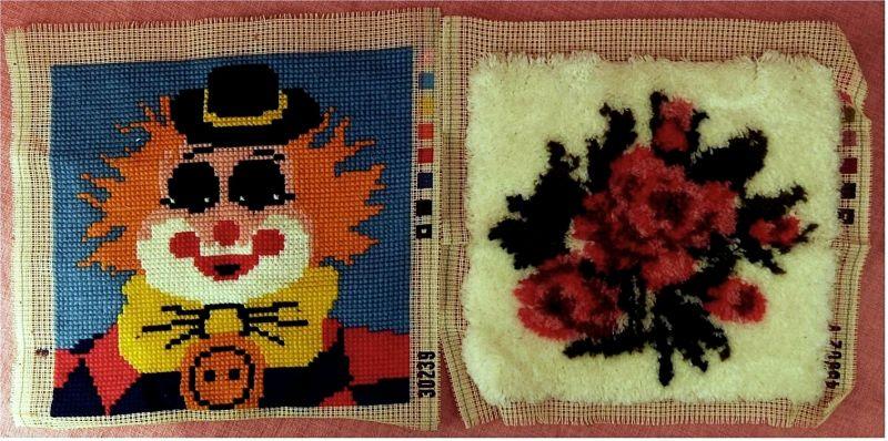 2 Gobelin-Bilder - Clown-Portrait und Blumen -  Größen : ca. 40 cm breit , 38 cm hoch 0