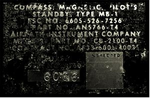 Kompass Magnetic - US Airforce - Flugzeug Bordinstrument - Type : MB-1  Von Airpath Instrument Company 6