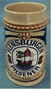 kleiner Andenken-Bierkrug Flensburger Pilsener - Keramik - ca. 0,25 Liter Volumen