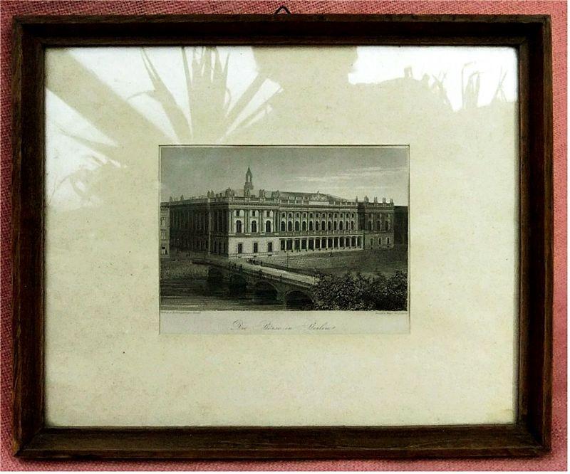 Börse in Berlin -  Stich um 1880 - Verlag Baumgärtner`s Buchh. - Druck Weger / Leipzig - ca. 15 x 10,5 cm.