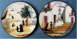2 handbemalte Ibiza Andenken-Wandteller aus Keramik - ca. 26 cm Durchmesser