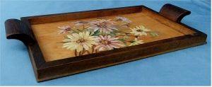 Rechteckiges Tablett aus Holz - Mit Blumen bemalt - ca. 21,5 x 38 cm