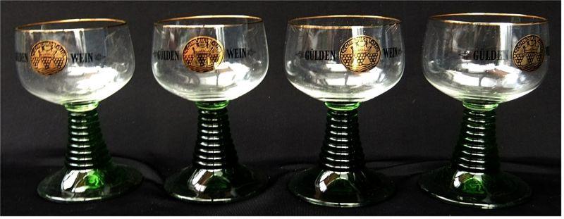 4 x Gülde Wein-Römer / Gläser mit grünem Stil - ca. 15 ml Volumen
