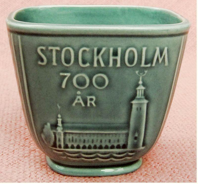 Mini-Andenken-Vase aus Keramik - 700 Jahre Stockholm - 1253-1953