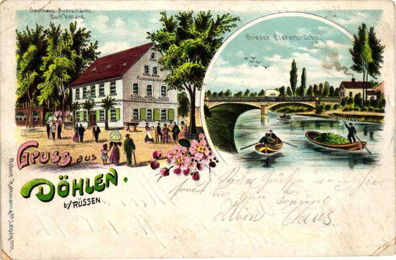 Gruss aus Döhlen Rüssen - Gasthaus Auenschänke , Elsterbrücke