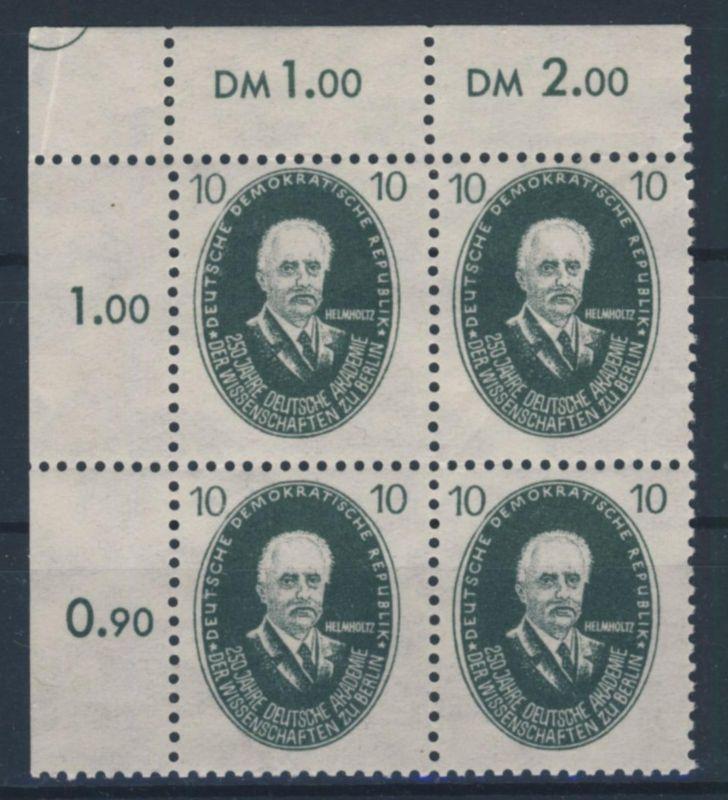 DDR Michel No. 265 ** postfrisch Viererblock Eckrand