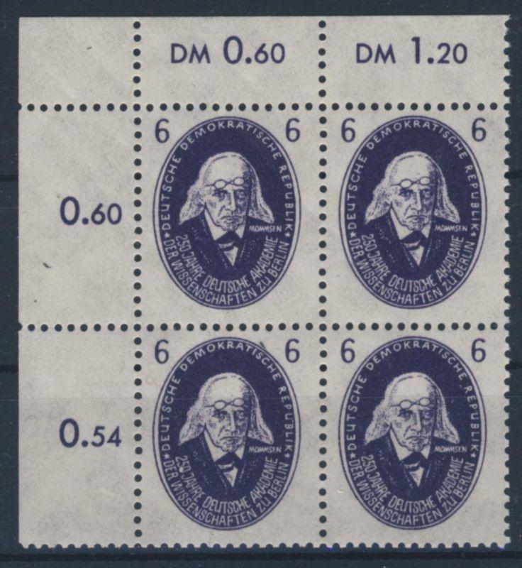 DDR Michel No. 263 ** postfrisch Viererblock Eckrand