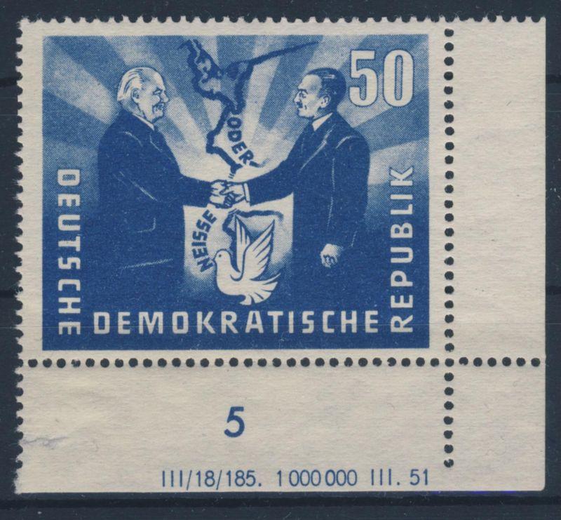 DDR Michel No. 285 ** postfrisch DV Druckvermerk / Rand gefaltet, gehangen